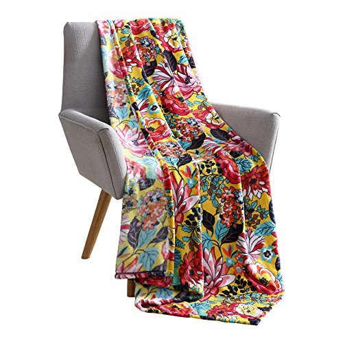 Hudson & Essex Hawaiian Bright and Bold Velvet Fleece Throw Blanket: Soft Plush Decorative Floral Patterned Accent for Couch or Bed, Colored: Teal Orange Red Pink Yellow Black VCNY Sally ()