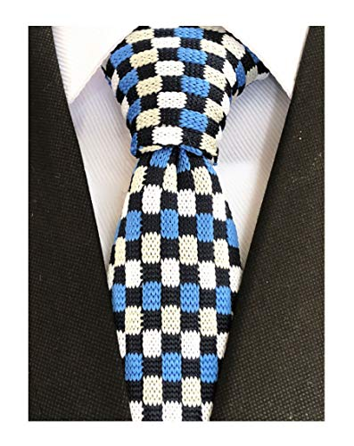 Men Knitted Neck Tie Navy Blue White Bright Blue Checkerboard Plaid Accessory Narrow Necktie Best Gift for Husband