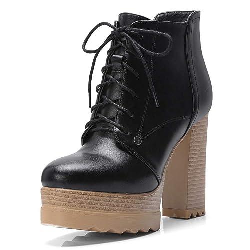 Botas para Mujer Tacones Altos Plataforma Botines Moda Encaje hasta Zapatos De Cremallera Niñas Casual: Amazon.es: Zapatos y complementos