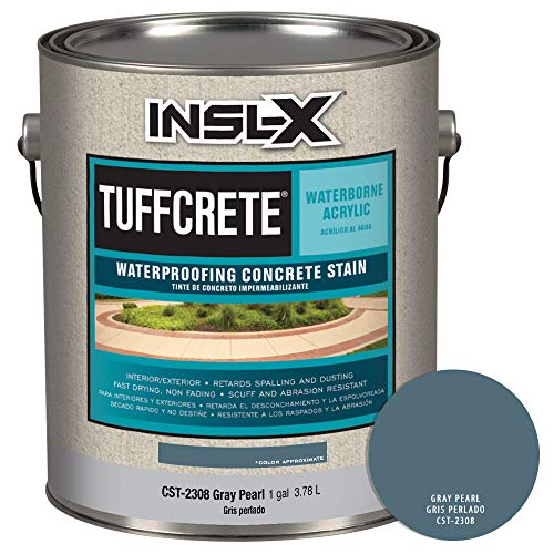 INSL-X CST230809A-01 TuffCrete Waterborne Acrylic Concrete Stain Paint, 1 Gallon, Gray Pearl