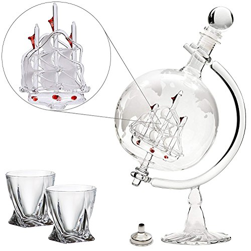 Large 35 Oz 'Ship' Handmade Whiskey Liquor Etched Globe Decanter Set with Glass Stand, 2 Diamond Glasses and Bar Funnel