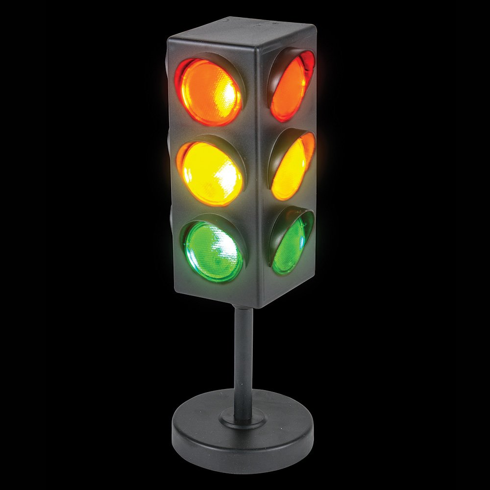 Bedwina Traffic Light Lamp 8'' Plug-in with Stand,Three Columns of Flashing Red Yellow and Green, Blinking Triple Sided