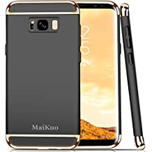 Galaxy S8 Plus Case, MaiKuo Ultra-thin 3in1 Plastic Frame Slim fit Shockproof Electroplate Metal Texture Armor PC Hard Back Cover Skin & Case for Samsung Galaxy S8 Plus _Black