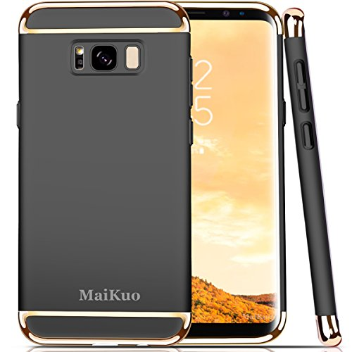 Price comparison product image Galaxy S8 Case,  MaiKuo Ultra-thin 3in1 Plastic Frame Slim fit Shockproof Electroplate Metal Texture Armor PC Hard Back Cover Skin & Case for Samsung Galaxy S8 _Black
