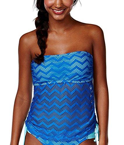 Hula Honey Women's Crochet Cutout Bandeau Tankini Top (X-Small, Royal Blue)