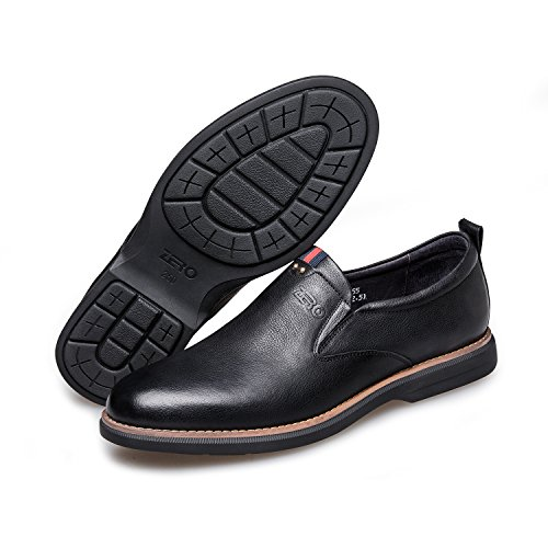 Shoes ZRO On Fashion Breathable Black Loafer Leather Slip Men's Work wgHnqAp