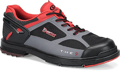 Dexter Men's The 9 HT Bowling Shoes, Black/Red/Grey, Size 10.5 by Dexter