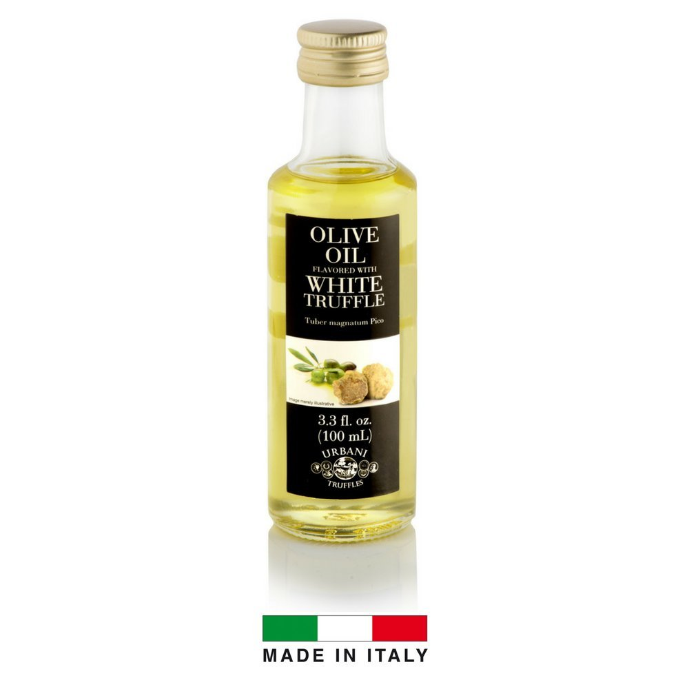 White Truffle Infused Olive Oil - 3.4 oz - By Urbani Truffles. Infused Truffle Olive Oil 100% Made In Italy With Natural Aroma (NO Artificial Flavor). Truffle Flavor Perfect For Fish, Pasta, Meat