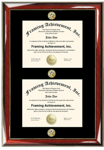 Double Certificate Frame with Three Triple Gold Seal Insignia ...