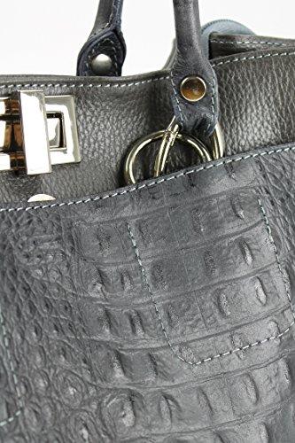 d4e8747370b24 Echt Leder Handtasche Shopper Kroko Prägung und Glattleder grau 31x25x16 cm  (B ...