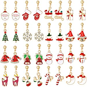 Christmas Stud Earrings Drop Dangle Jewelry Set For Women Girls Kids Tiny Tree Snowman Snowflake Abduct Deer Gift Box Sock Santa Claus Xmas Bell Cute Holiday Festive Party (16 Pairs)