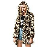 Sanyyanlsy Women's Fashion Leopard Print Cardigan Faux Fur Outwear Loose Fluffy Plush Long Hooded Coat Tops with Pocket Khaki