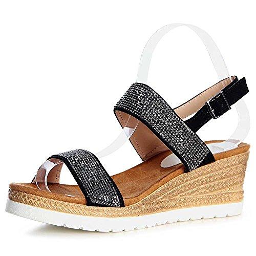 topschuhe24 - Sandalias de vestir para mujer, color Plateado, talla 36