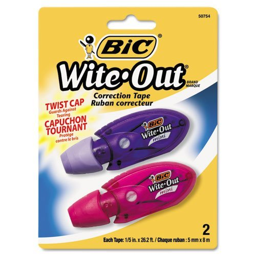 BIC Wite-Out Mini Twist Correction Tape, White, 12 Tapes