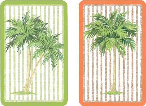 Entertaining with Caspari Double Deck of Bridge Playing Cards, Jumbo Type, (Coated Palm Wells)