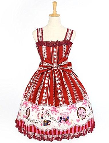 Women's cotton poker print lolita princess dolly jumper dress