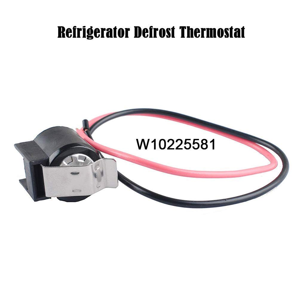 W10225581 Defrost Thermostat - Refrigerator Bimetal Defrost Thermostat Replacement for Whirlpool KitchenAid Kenmore Refrigerator Replace AP6017375 2149849 2321799 PS11750673 WPW10225581