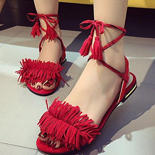 Ouneed® Damen Sandalen , Damen Strappy Heels Pumps Wedding Wear Low Cut Cross Buckle Office Shoes Rot