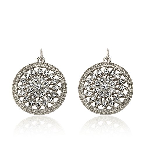 Riccova Country Chic Crystal Flower Center Medallion Dangle Earring On Fishhook/ White Metal (Truly Crystal Clock)