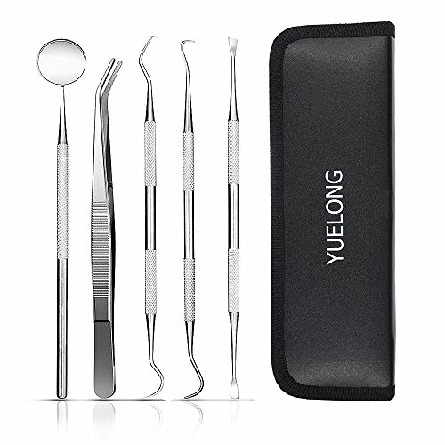 Dental Tools and Dental Pick - Yuelong 5-in-1 Dental Explorer,Stainless Steel Dental Hygiene Tools Set, Tooth Cleaning Tools Teeth Scraper Kit Tartar Remover for Personal Oral Care & Pet Use