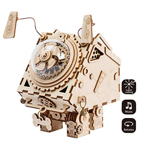 ROBOTIME 3D Laser Cut Wooden Puzzle Music Box Kit Robot Dog Seymour DIY Puzzle Toy with A Cute Song Best Birthday Gifts for Adults
