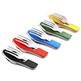 Ezyoutdoor 5 Pieces Stainless Steel Camping Cutlery 4 in 1 Multi-Function Folding Pocket Fork Spoon Knife Bottle Opener Kits Outdoor Tableware for Hiking Survival Camping Travel,Random Color