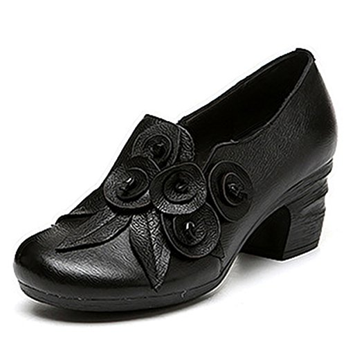 Mid Heel Bootie - Socofy Leather Mid Heel Shoes,Women Retro Handmade Floral Fashion Stitching Zipper Round Head Cute Shoes Black 8 B(M) US