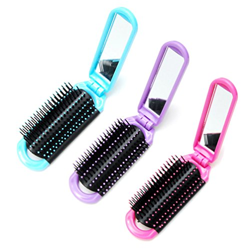 Luxxii (3 Pack) Mini Pretty Detangler Hair Brush Detangling Comb for Adults & Kids