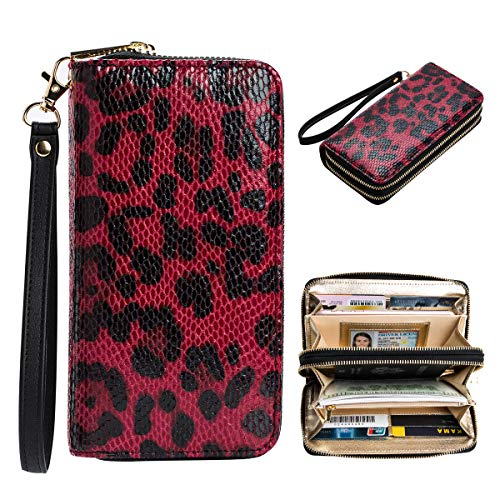 (Heaye Leopard Skin Print Wallet RFID Credit Card Zip Around Wristlet for Women 16 Slots)