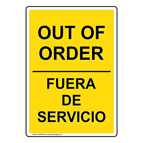 ComplianceSigns Aluminum Restroom Closed / Out of Order Sign, 10 x 7 in. with English + Spanish Text, Yellow
