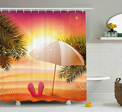 Ambesonne Orange Shower Curtain, Sunset at The Beach with Flip Flops Umbrella and Palm Trees Illustration, Fabric Bathroom Decor Set with Hooks, 75 Inches Long, Orange and Yellow