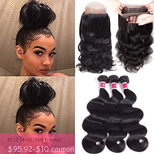 Funky girl Hair Lace Frontal Closure With Bundles Brazilian Body Wave Bundles With Frontal 360 Natural Black Unprocessed Human Hair Bundles With Frontal (16 18 20 With 14) (Pre Plucked 360 Lace Frontal With Bundles)