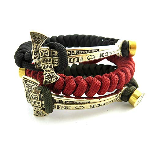 Woven Lanyard Bracelet with Double-blade ax solid brass -