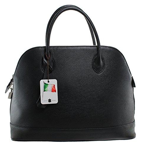 Made 100 Noir Sac femmes véritable in des CTM cuir Italy élégant classiques 40x30x15cm 4aqFwzZ