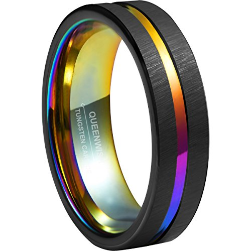 Queenwish 6mm Rainbow Black Brushed Tungsten Carbide Wedding Band Center Groove Unique Couples Engagement Rings
