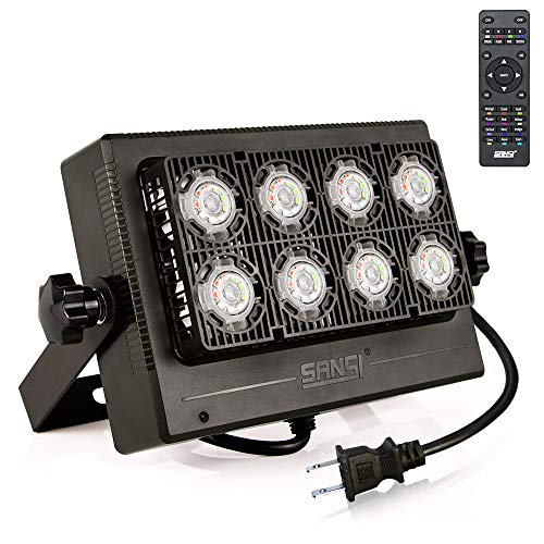 SANSI 50W RGB LED Flood Light Outdoor Color Changing with Remote Control, 16 Colors 8 Modes Dimmable Waterproof Landscape Floodlight, Color Flood Light, Party Lights, Stage Lights, Wall Washer Light -