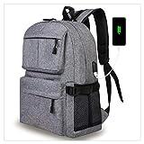 Elven Street-Oxford School Backpack Slim Bookbag Laptop with USB Charging Port Business Travel Computer Bag for Men Women