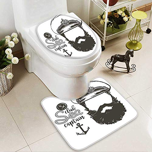 Rug 13800 (SOCOMIMI 2 Piece Bathroom Contour Rugs Portrait of a Faceless Captain with Hat and Beard Seaman Character Artistic Illustration Anti-Slip Water Absorption)