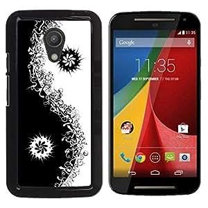 Be Good Phone Accessory // Dura Cáscara cubierta Protectora Caso Carcasa Funda de Protección para Motorola MOTO G 2ND GEN II // Black Yin Yang Floral Minimalist