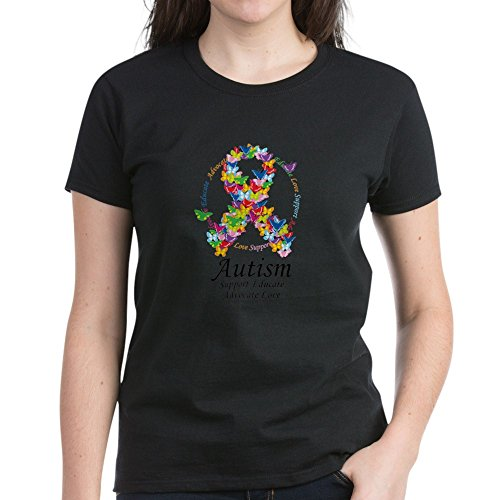 CafePress - Autism-Butterfly-Ribbon T-Shirt - Womens Cotton T-Shirt Black