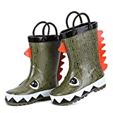 hiitave Kids Toddler Waterproof Rubber Rain Boot for Boys Girls with Easy Pull On Handles Olive/Dinosaur 9 M US Toddler