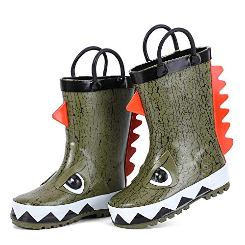 hiitave Kids Toddler Waterproof Rubber Rain Boot for Boys Girls with Easy Pull On Handles Olive/Dinosaur 10 M US Toddler