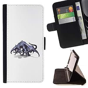 Momo Phone Case / Flip Funda de Cuero Case Cover - Dibujo Dragón gris mítico Arte Salvaje - LG G3