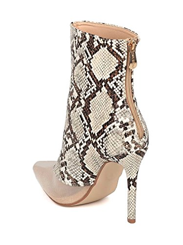 Heel Stiletto Women Mesh Bootie by Toe Fabric Cape Snake Bootie Ankle HK67 Mixed Boot Robbin 84wqI1Hrw