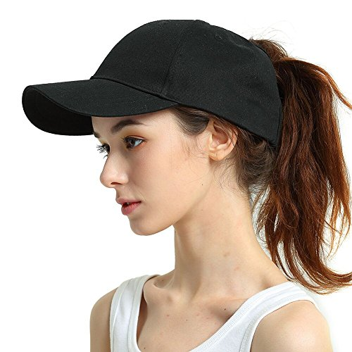 Womens Ponytail Baseball Hat Messy High Buns Ponycap Plain Unconstructed Cotton Dad Hat Adjustable Size, Variy Styles and Colors