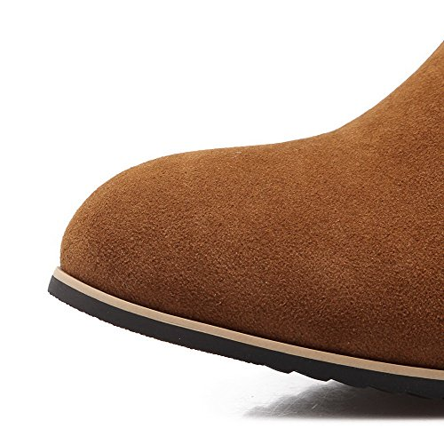 Brown Ankle Suede high Women's Imitated Solid Round Toe Allhqfashion Heels Closed Boots Kitten Z7BxIf