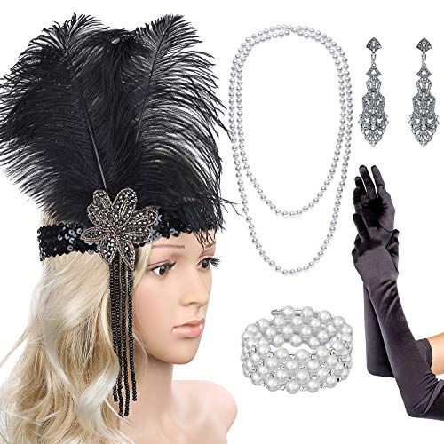 QANYUE Women's 1920s Flapper Feather Headpiece Earrings Necklace Bracelet Gloves Party Accessories Set Great Gatsby Black]()