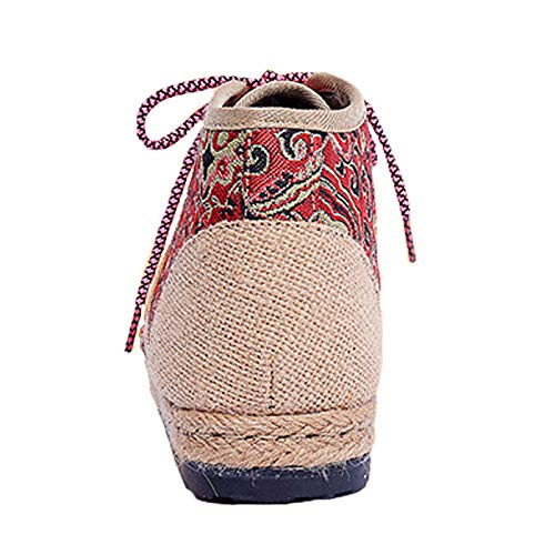 Women GUNAINDMX Women Up Comfortable Flat Shoes Red Cloth For Shoes Autumn Boots Ankle Embroider Shoes Lace 7FFqwYEr