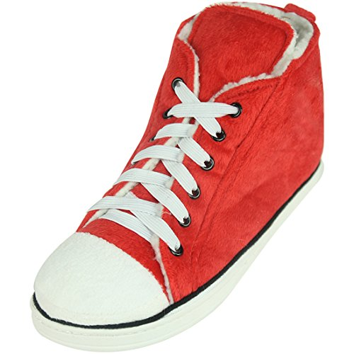 (Home Slipper Womens Winter Warm Cozy Fleece High-Top Indoor Outdoor House Room Cute Fashion Sneakers Boot Slippers Shoes,Red,US 9)