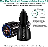 Dual Car Charegr Qualcomm Quick Charger 3.0 30W Dual USB Ports 12V//24V for iPhone Xs Plus Samsung Galaxy S20 Plus // S20 S8 Active Fast Charger SHOCKTU USB Car Charger